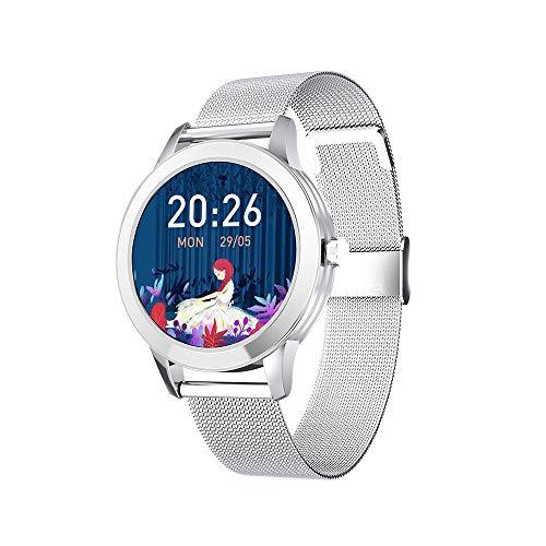 DHTOMC Señoras reloj inteligente monitoreo del sueño pulsera deportiva impermeable control de música multifunción SMS recordatorio-plata