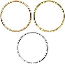 3 Pieza Caja Sistema 9K Calibre 22 Oro s?Lido (0,6 MM) - aro Abierto Nariz Anillo Piercing