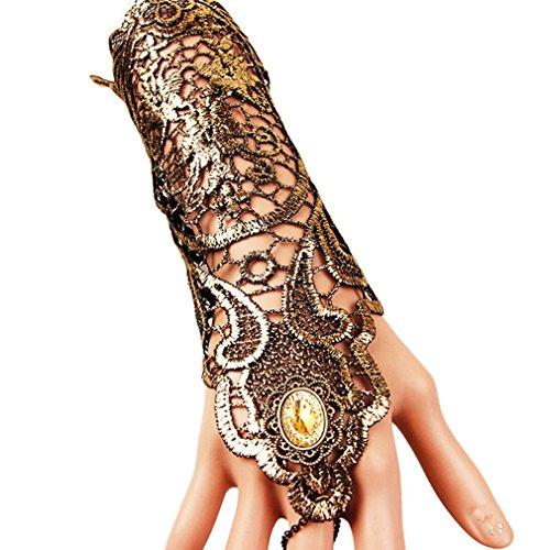 EROSPA Gothic Steampunk Handstulpe mit Brosche - Handschuhe - Damen - Gold / schwarz - 1 Stück