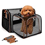 Lekesky Cat Carrier Expandable Dog Carrier for Small Dogs and Medium Cats Pet Carrier Bag with Breathable Mesh and Removable Mat, Airline Approved Soft Sided Puppy Carrier, Grey