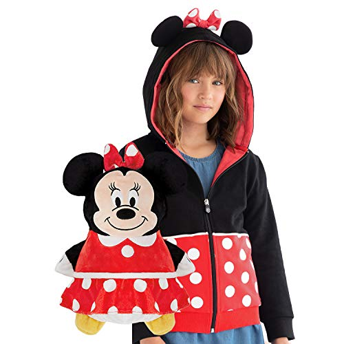 Cubcoats Minnie Mouse - 2-in-1 Transforming Sweatshirt & Soft Plushie - Red & Black