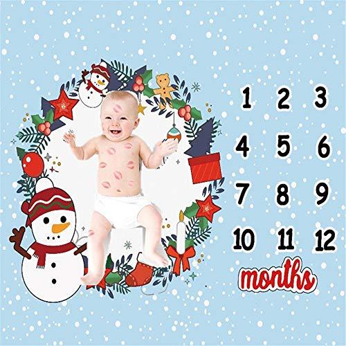 Zhongsufei-PP Noël Style Bébé Mensuel Milestone Couverture Extra Doux Premium Cadeau De Shower De Bébé for Nouvelle Maman avec Guirlande Florale (Couleur : C1, Taille : 100X100cm)