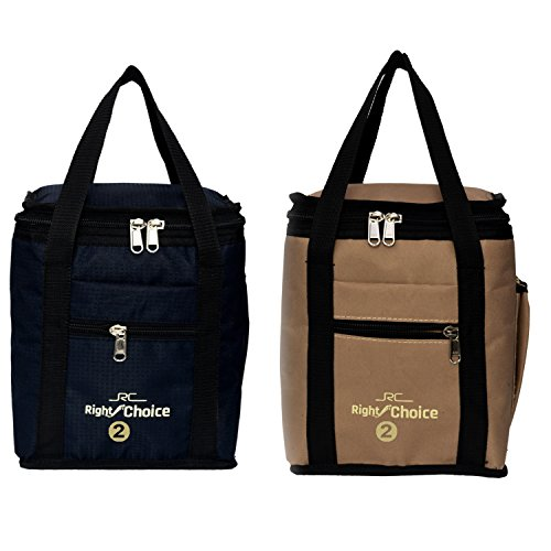 Right Choice Bags Combo Polyester Lunch Bags Carry on Tote Compact Heat Preservation Waterproof Hygiene Meal Prep Box (Black and Beige)