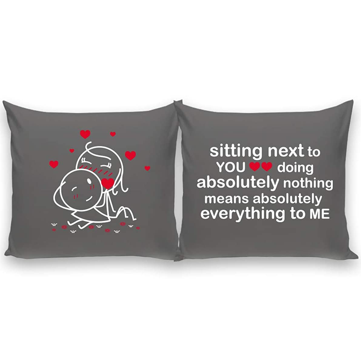 BoldLoft You Mean Everything Throw Pillow Covers 26x26 -Couple Pillowcases - Gifts for Boyfriend Girlfriend Husband Wife Anniversary Wedding Engagement - His and Hers Euro Pillow Covers Set of 2 Grey