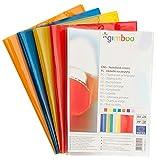 Gimboo Juego de 25 fundas para cuadernos, DIN A5, transparente, color: azul/transparente, lámina de polipropileno transparente, protector para cuadernos escolares, 150 μm