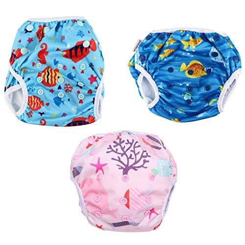 EXCEART 3 Piezas Bebé Nadar Pañal Animal Patrón Niños Traje de Baño Ajustable Bañador para Lecciones de Natación