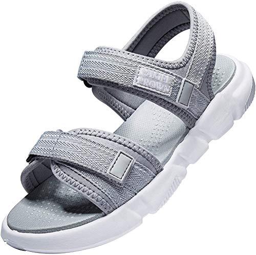 CAMEL Damen Sport Sandalen Trekking Sandalen Verstellbare Wandern Sandalen Peeptoe Sommer Sandalen Beach Wasser Schuhe Klettverschluss Walking Schuhe Outdoor Sandalen (Grau, Numeric_40)…
