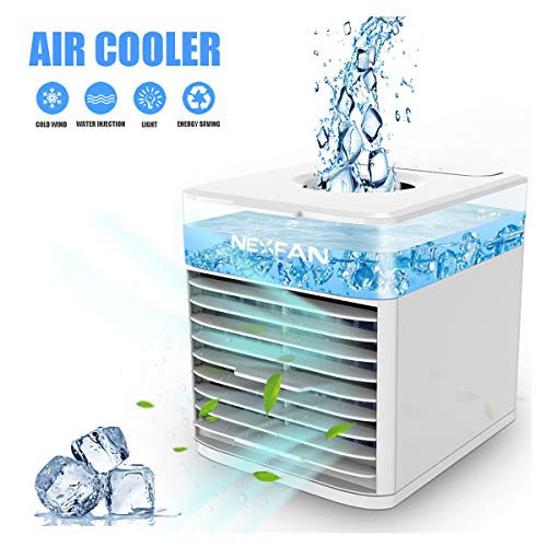 Mini Luftkühler, Mobile Klimaanlage USB Ventilator Luftbefeuchter mit Verdunstungskühlung Air Cooler mit 3 Stufen & 7 Stimmungslichtern für zu Hause, Büro, Auto, Hotel, Garage, Camping (Weiß)