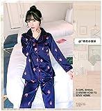 FTYUNWE Pijamas cómodos, regalos de cumpleaños para esposa y madre, pijama de manga larga, pijama de seda para primavera, otoño y mujer, conjuntos de pijama con estampado lindo, pijama azul