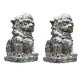 AUEDC Estatua de decoración de Perro León Foo, par de Perros Fu Foo, estatuas de león guardián Chino Tradicional, Acabado de Piedra, decoración Feng Shui