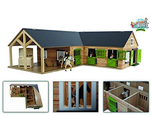 Kids Globe 610211 Pferdehof aus Holz - Maßstab 1:24, naturfarben, mit beweglichen Türen, Fenster und Tore, Mehrfarbig