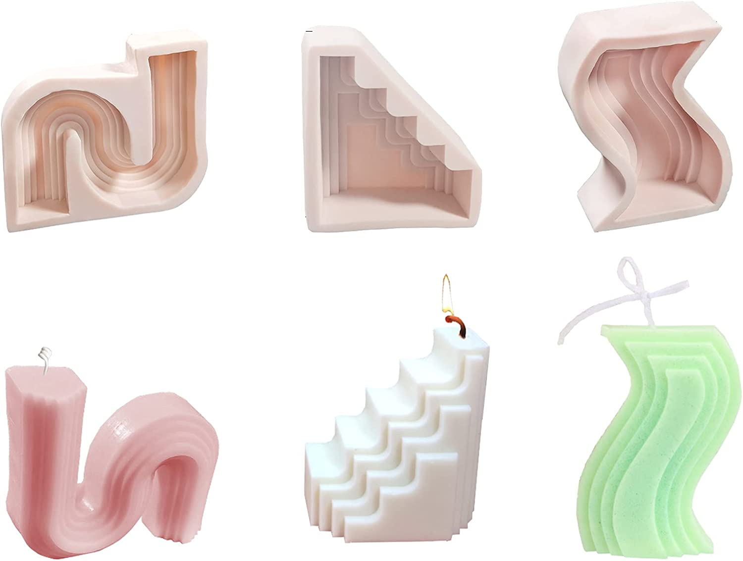 DIPNANG Branded goods 3 Pieces Candle Molds Shaped Silicone Geometric Special Discount mail order