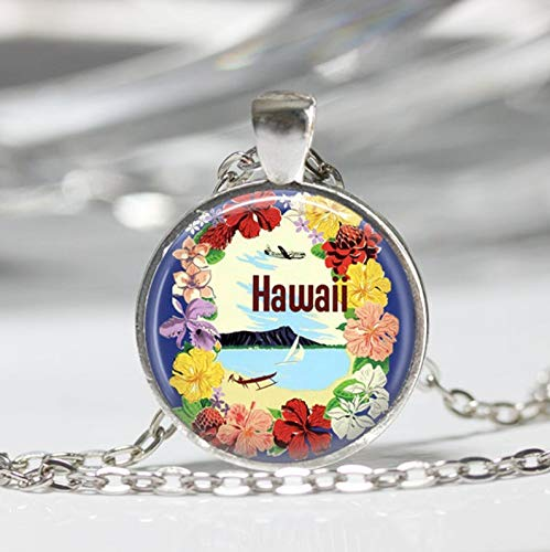 Hawaii Halskette Vintage Reise Poster Hawaiian Lei Hibiskus Blume Tropische Kunst Anhänger
