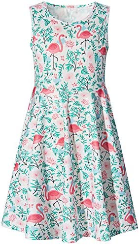 Little Girls Dress Size 8 9 Years Old Green Weeds Red Bird Floral Print Princess Fashion Twirl product image