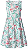 Little Girls Dress Size 8 9 Years Old Green Weeds Red Bird Floral Print Princess Fashion Twirl Flower Frilly Overalls Sundress Basic Casual Clothing for Formal Birthday Party T Shirt Pageant Dresses