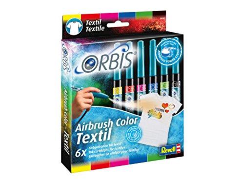 Unbekannt Orbis 30402 Textilpatronen, 6er Pack (Farben: rot, gelb, blau, schwarz, grün, pink) Kinder und Allen Anderen Kreativen, Zubehör für das Airbrush Power Studio 30020, Mehrfarbig