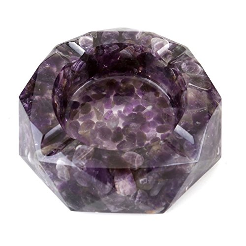 WarmHut Amethyst Cigarette Ashtray, Resin with Tumbled Chip Stones Ashtray, Amethyst Tumbled Stone Ash Tray Holder, Unique Decoration Artware for Home Office Tabletop, Ideal Gift (Amethyst 01)