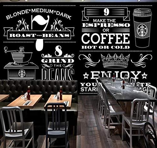 HUATULAI Muurschildering 3D Behang Handbeschilderd Zwart en Wit Starbucks Koffie Winkel Achtergrond Muur Papier 250 x 175 cm.