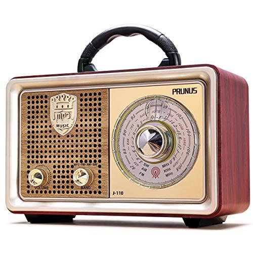 Radio Portatile FM AM(MW) SW Bluetooth AUX MP3 PRUNUS J-110BT. Dal corpo classico vintage retrò simile al legno. Altoparlante da 3W integrato, senza auricolari Presa (Argento)