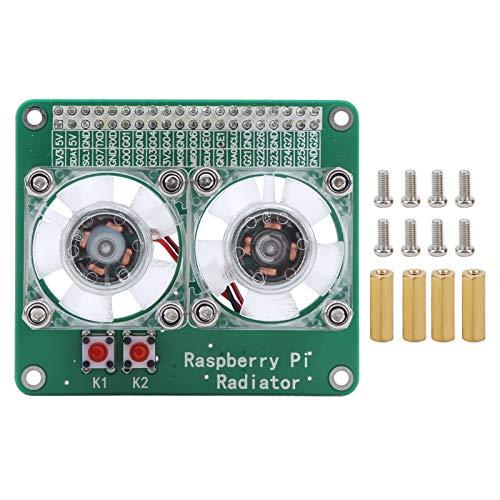 DC5V Ventilador de refrigeración Dual radiador disipación Calor CPU disipador de Calor Transparente módulo de Enfriador Placa de extensión de disipador de Calor Apto para Raspberry Pi 3A / 3B / 4B