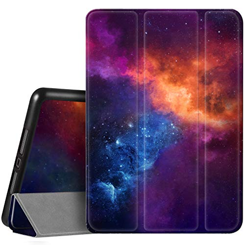 Hi Space Case for iPad 8th / 7th Generation 10.2 inch 2020 2019 Released, Blue Galaxy Sky Protective iPad 10.5 Case, Auto Sleep/Wake, Trifold Stand Smart iPad 8th Gen Cover with Pencil Holder