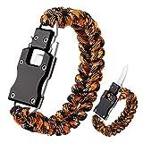 WEREWOLVES Paracord Knife Bracelet Survival Cord Knife Bracelets, Tactical EDC Paracord Bracelet, Emergency Survival Gear for Hiking Traveling Camping, Paracord Bracelet for Men (Black/Orange)