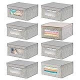 mDesign Juego de 8 cajas de tela apilables para guardar ropa y ms  Cajas con tapa medianas con...