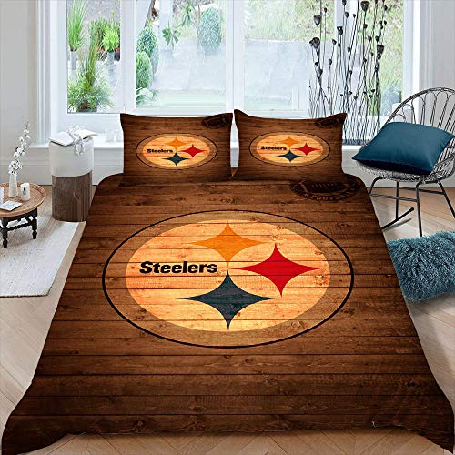 Pitts-Burgh-Stee-lers Bedding Set 3 Piece Set Twin Size, American Sports Team Decor Duvet Cover Washed Microfiber