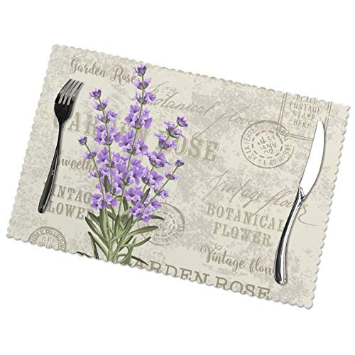 Set of 6 Placemats, Lavender Flowers Elegant Postcard Vintage Non-Slip Heat-Resistant Washable Table Place Mats 12 X 18 Inches Home Dinner Decorative