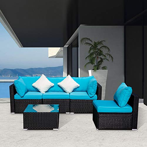 Wonlink 5 PCS Patio PE Rattan Wicker Sofa Sectional Furniture Set with Blue Cushion, 2 Pillows and Tea Table