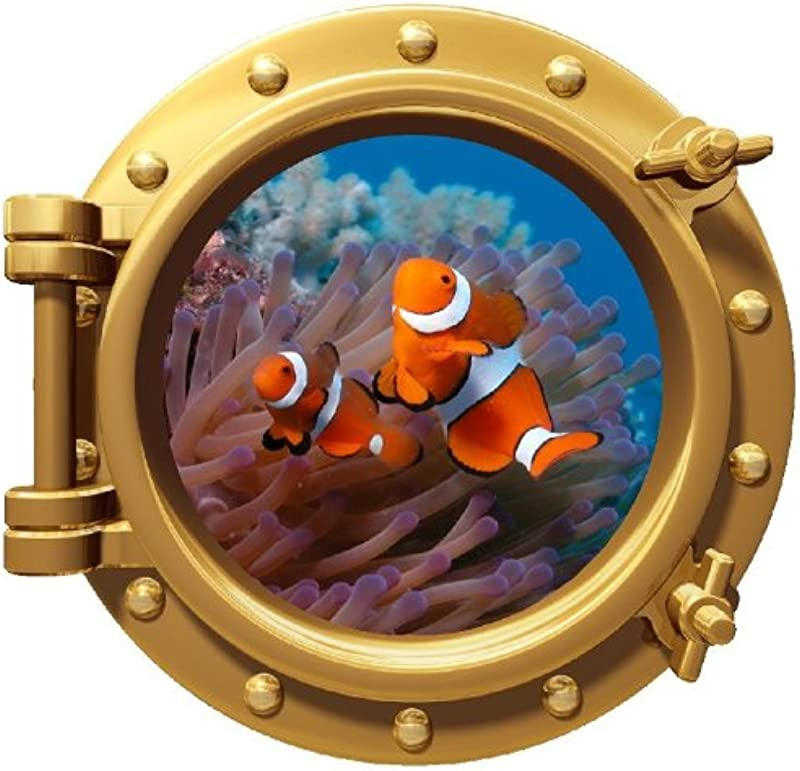 12 Porthole 3D Window Wall Decal Clownfish BRONZE Port Scape Finding Nemo Tropical Fish Underwater Sea Life Ocean Coral Reef Removable Vinyl Sticker