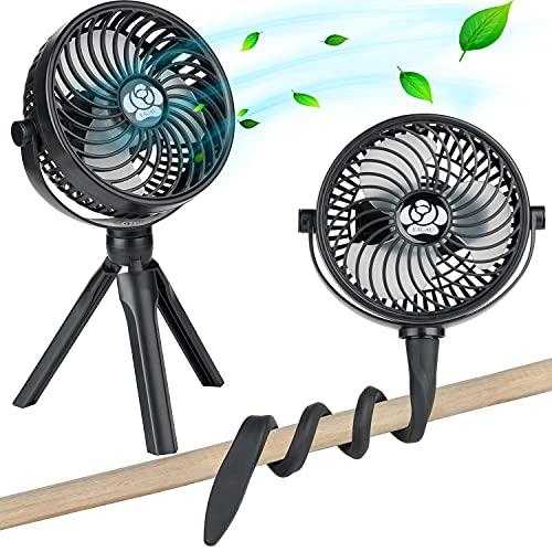 2in1 Portable Fan, Baby Stroller Fan, Mini Small Fan with Tripod Flexible Stand, Handheld Personal Cooling Fan for Bedroom Crib Desk Treadmill Car Seat, Rechargeable Battery Operated Fan