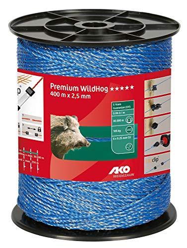 AKO Premium WildHog Weidezaunlitze/Elektrozaun Litze, 3 mm, blau - 400 m - Widerstand: 0,06 Ohm, bestmögliche Leitfähigkeit für höchste Hütesicherheit - Wildabwehr, Herdenschutz, Rehwild