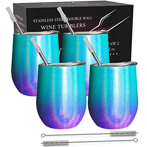 CHILLOUT LIFE Stainless Steel Wine Tumblers 4 Pack 12 oz - Double Wall Vacuum Insulated Wine Cups with Lids and Straws Set for Coffee, Wine, Cocktails - Mermaid Sparkle