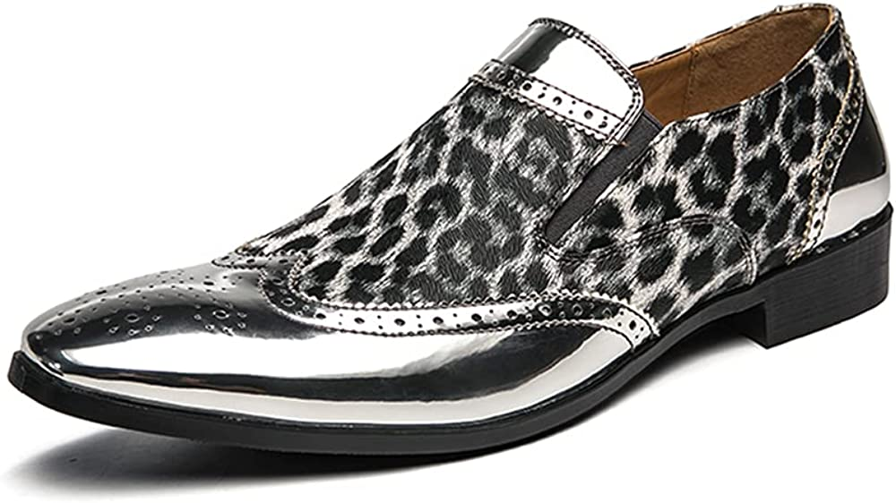 KOYODA Men's Fashion Uniform Leopard Pattern Point-Toe Leather Classics Loafers Dress Shoes