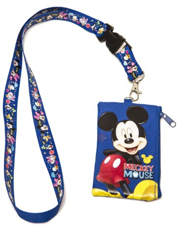 1 X Mickey Mouse KeyChain Lanyard Fastpass ID Ticket Holder Blue