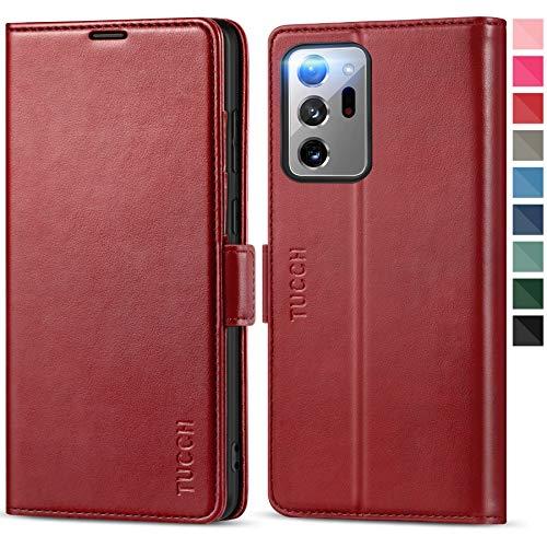 TUCCH Hülle Galaxy Note 20 Ultra 5G, Note 20 Ultra Schutzhülle, RFID stoßfest [Magnetverschluss] [Kartenfach] [Verdicktes TPU] Hülle klappbar für Galaxy Note 20 Ultra (6,9 Zoll) Dunkelrot