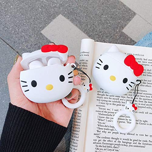 Gift-Hero Compatible with Airpods 1&2 Soft Silicone Cute Case, Cartoon 3D Fun Animal Funny Cool Kawaii Design Designer Kits Character Skin Fashion Cover for Girls Boys Kids Teens Air pods (3D Kitty)