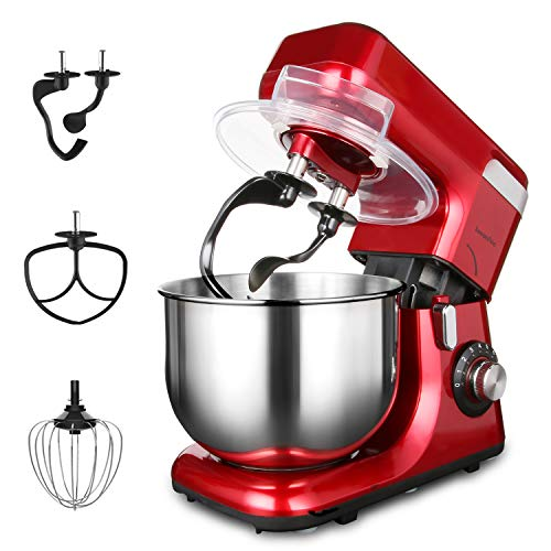Stand Mixer LASANTEC, Dough Mixer 550W 5.5L Stainless Steel Bowl 8 Speeds Kitchen Electric Mixer with Double Dough Hooks, Wire Whip,Flat Beater,Pouring Shield,Automatic Tilt-Head(Coke Red)