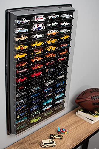 KB Tools Display Cabinet for Hot Wheels with Clear Cover – Toy Storage Shelves with 60 Slots – Durable Heavy Duty Plastic Cube Storage Box – Modern Design and Colours (Black)