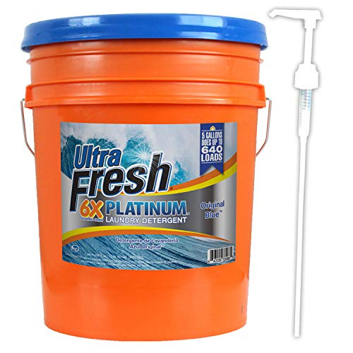 Ultra Fresh UFPTTRSL Platinum Original Blue Liquid Laundry Detergent, 5 gal, 640 oz.