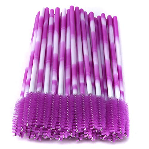 CAVIVIUK 50 Brosses à Cils jetables Mascara Brosses Applicateur Kit de Maquillage Brosse à Sourcils,Violet
