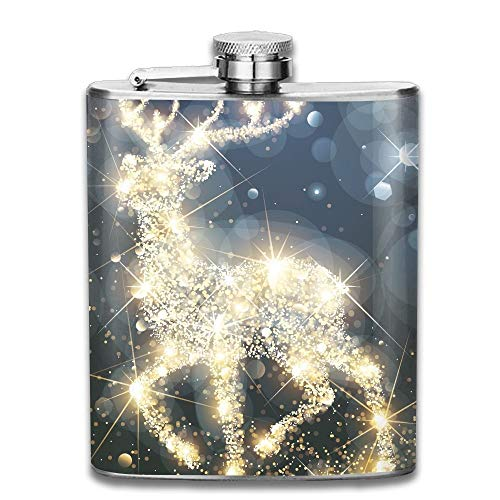 Reindeer Light Funny Pattern 304 Stainless Steel Pocket Hip Flask Outdoor Portable Pattern Flagon Water Flasks 70Z