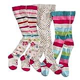 WELLYOU leotardos para bebés/niños, medias para niñas, pantimedias para bebés/niñas, colorido conjunto de 3 medias con puntos, rayas y flores. Tallas 62-68