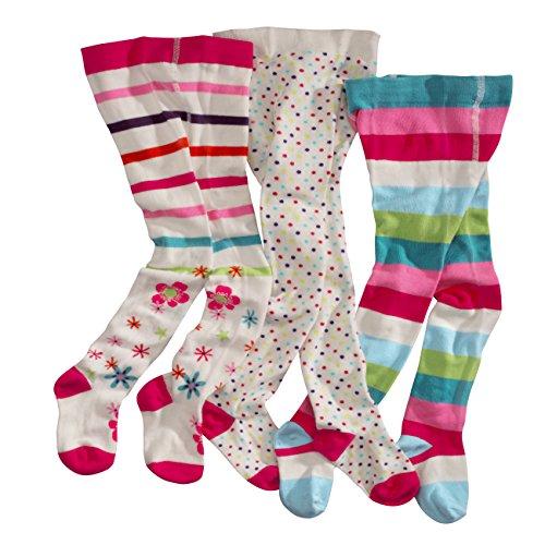 WELLYOU leotardos para bebés/niños, medias para niñas, pantimedias para bebés/niñas, colorido conjunto de 3 medias con puntos, rayas y flores. Tallas 122-128