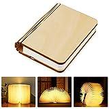 Tronisky Lámpara de Libro Plegable con LED Luces, de Madera USB Recargable, para Mesa Decorativa, Creativa, Luz Nocturna, Blanco Cálido
