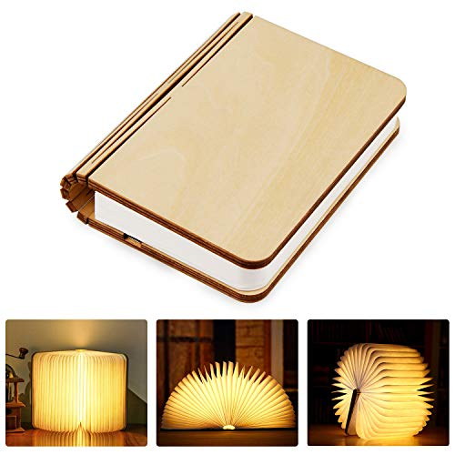 Tronisky Lámpara de Libro Plegable con LED Luces, de Madera USB Recargable,...
