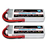 HRB 2PCS 11.1V 2200mAh 3S 30C Batería de lipo con Deans T Plug para RC Car Boat Truck Heli Airplane Quadcopter Helicopter Multi-Motor Hobby DIY Parts