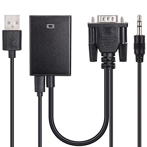 Zacro Cable de Conversor de VGA a HDMI con Alimentación USB y Soporte de Audio para TV Ordenador Proyector Smart TV Box Portátil, Resolución de 720P /1080P
