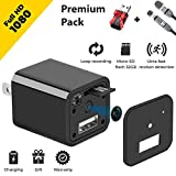 Spy Camera - HD 1080P Hidden Camera USB Wall Charger - Premium Pack - USB Hidden Cameras  Best Mini Spy Camera Charger Wireless Video Recorder Home Security System - Motion Detector Nanny Camera